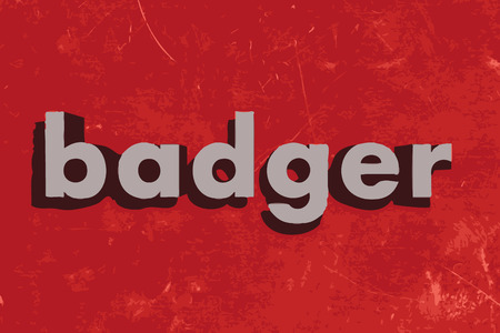 badger: badger vector word on red concrete wall