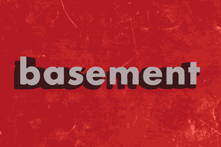basement: basement vector word on red concrete wall
