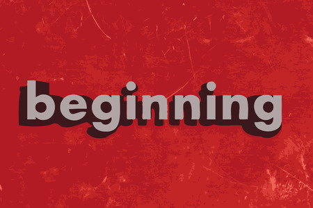 beginnings: beginning vector word on red concrete wall Illustration