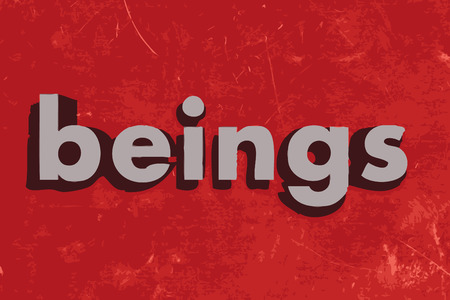beings: beings vector word on red concrete wall