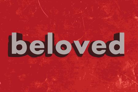 beloved: beloved vector word on red concrete wall Illustration