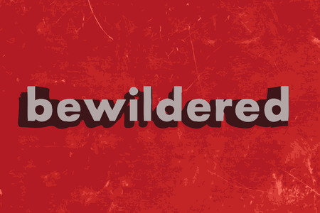 bewildered: bewildered vector word on red concrete wall