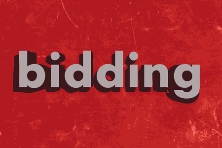 bidding: bidding vector word on red concrete wall