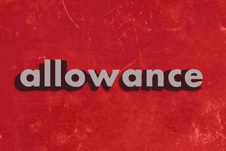 allowance: allowance vector word on red concrete wall Illustration