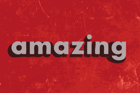 amazing: amazing vector word on red concrete wall