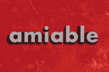 amiable: amiable vector word on red concrete wall