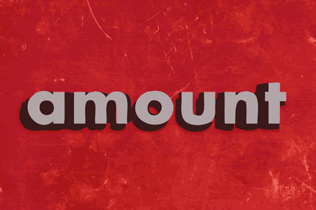 amount: amount vector word on red concrete wall