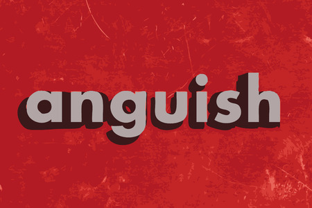anguish: anguish vector word on red concrete wall