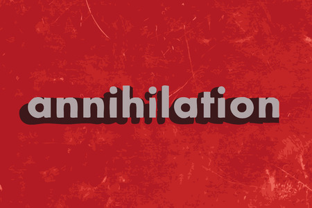annihilation: annihilation vector word on red concrete wall Illustration