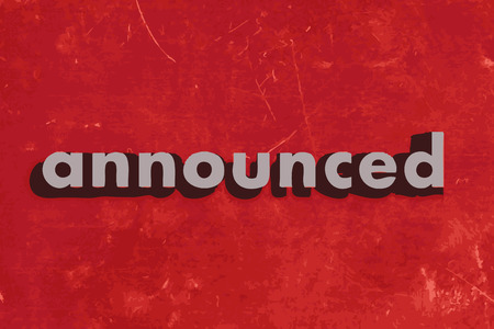 announced: announced vector word on red concrete wall Illustration
