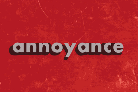 annoyance: annoyance vector word on red concrete wall