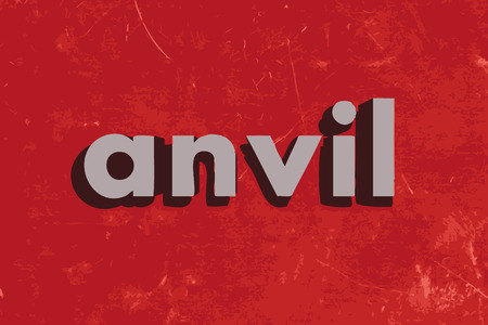 anvil: anvil vector word on red concrete wall