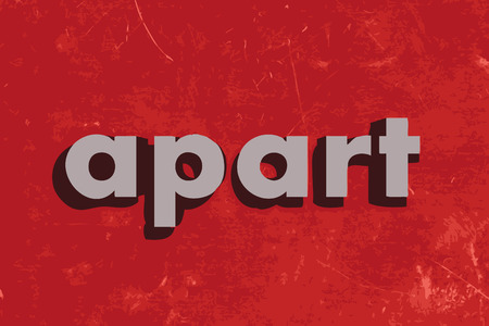 apart: apart vector word on red concrete wall