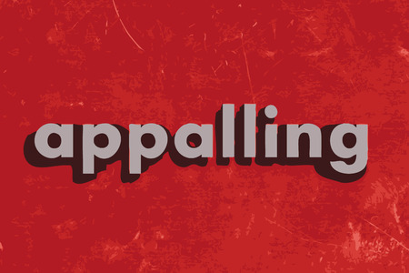 appalling: appalling vector word on red concrete wall