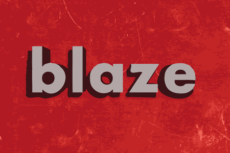 flame letters: blaze vector word on red concrete wall