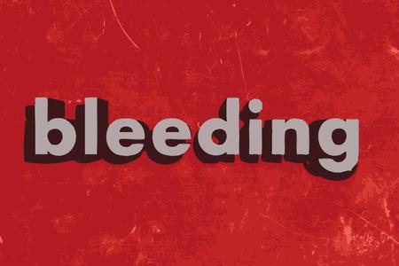 bleeding: bleeding vector word on red concrete wall