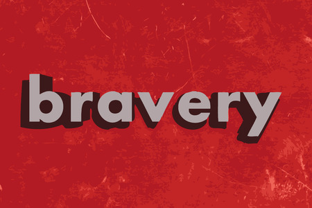 bravery: bravery vector word on red concrete wall