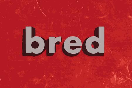 bred: palabra vector criado en rojo muro de hormig�n