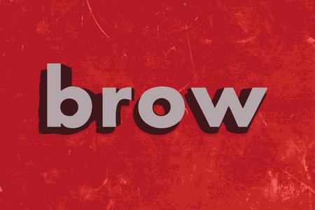 brow: brow parola vettoriale su muro di cemento rosso Vettoriali