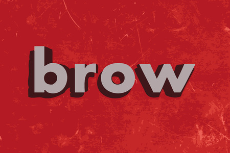 brow: brow vector word on red concrete wall Illustration