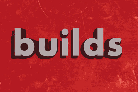 builds: builds vector word on red concrete wall