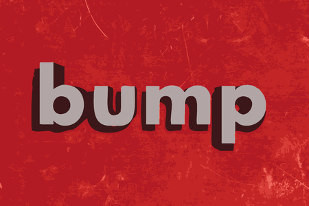 bump: bump vector word on red concrete wall