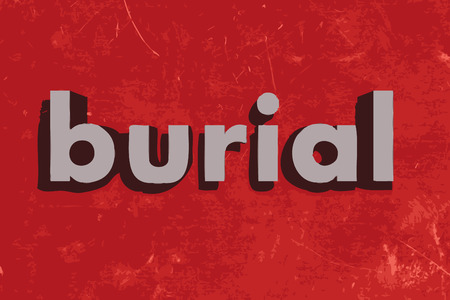 burial: burial vector word on red concrete wall