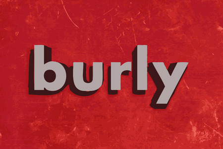 burly: burly vector word on red concrete wall
