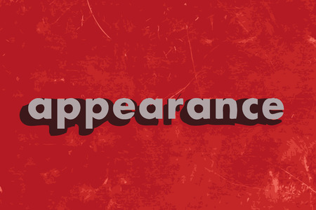 the appearance: appearance vector word on red concrete wall