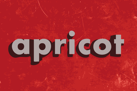 apricot: apricot vector word on red concrete wall