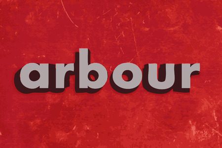 arbour: arbour vector word on red concrete wall