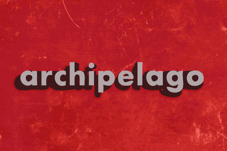 archipelago: archipelago vector word on red concrete wall