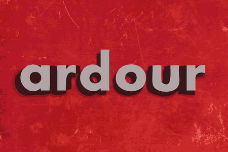 ardour: ardour vector word on red concrete wall Illustration