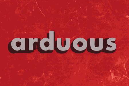 arduous: arduous vector word on red concrete wall