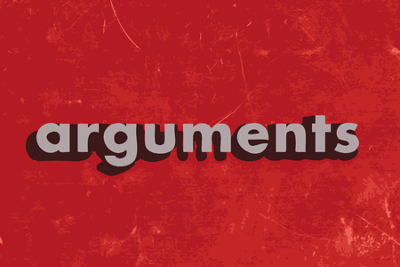 arguments: arguments vector word on red concrete wall