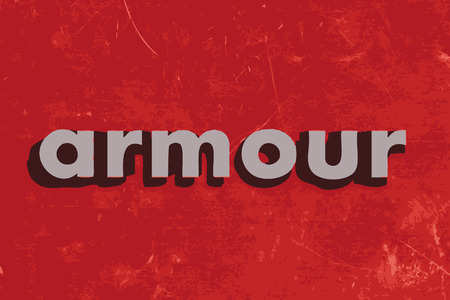 armour: armour vector word on red concrete wall Illustration