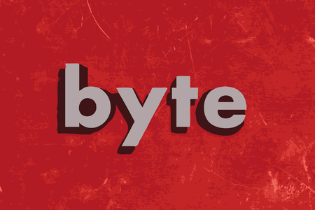 byte: byte vector word on red concrete wall