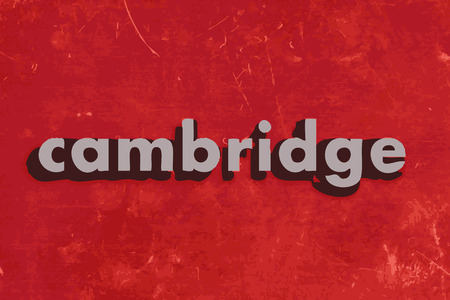 cambridge: cambridge vector word on red concrete wall Illustration