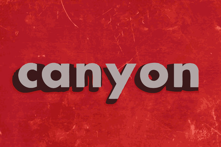 canyon: canyon vector word on red concrete wall Illustration