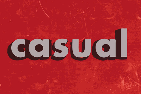 casual: casual vector word on red concrete wall
