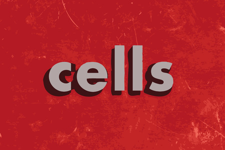 wall cell: cells vector word on red concrete wall