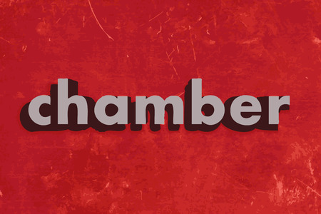 chamber: chamber vector word on red concrete wall Illustration