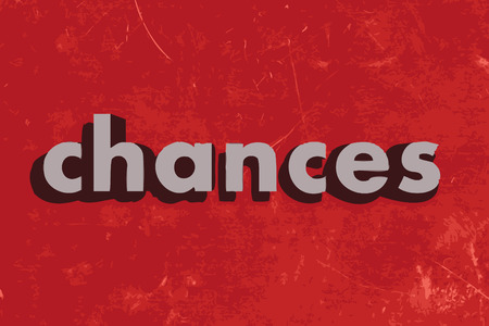 chances: chances vector word on red concrete wall Illustration