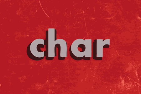 char: char vector word on red concrete wall