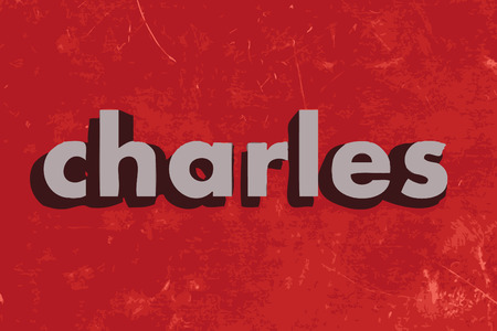 charles: charles vector word on red concrete wall Illustration