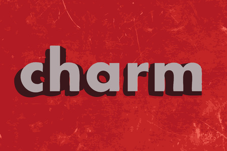 charm: charm vector word on red concrete wall Illustration