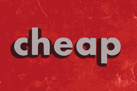 cheap: cheap vector word on red concrete wall