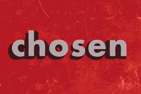 chosen: chosen vector word on red concrete wall Illustration
