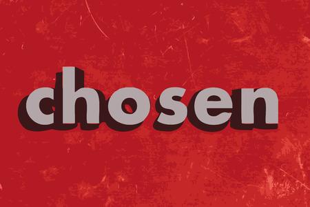 chosen: chosen vector word on red concrete wall Illustration