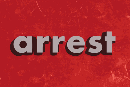 arrested: arrest vector word on red concrete wall Illustration
